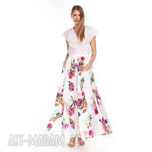 spódnica kamelia, letnia, maxi, kwiaty, wiskozowa, zwiewna, wzory, unikalny