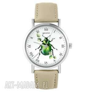 zegarek - zielony żuczek skórzany, beżowy, zegarek