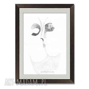 grafika pocałunek a3 malowana ręcznie, tusz, elegancki minimalizm, abstrakcja