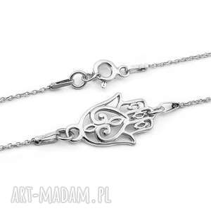 Srebrny naszyjnik RĘKA, DŁOŃ FATIMY, srebrny, naszyjnik, dłoń, ręka, hamsa, fatima