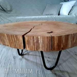 stoły stolik kawowy dębowy 2, kolekcja lata w słojach, stolikzplastradrewna