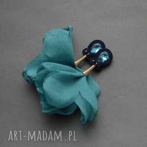 kolczyki sutasz z kwiatkiem, sznurek
