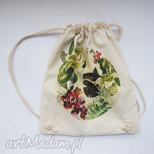 ptaki plecak / worek torba - płócienna, eco, dźungla, bawełna, wakacje, rośliny