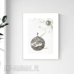 grafika a4 malowana ręcznie, minimalizm, abstrakcja czarno-biała, 2476590