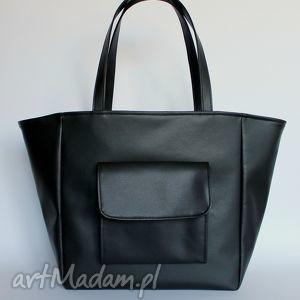 handmade na ramię shopper bag worek - czarna