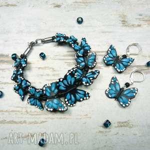 Prezent Komplet biżuterii motyle - turkusowy, motyl, motyle, komplet, lato