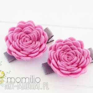 ozdoby do włosów spinki kwiatki roses różowe, filc, ozdoby