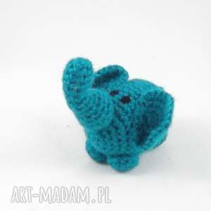 Prezent SZCZĘŚCIARZ - turkusowy słonik, słoń, szydełkowy-słonik, rękodzieło, maskotka