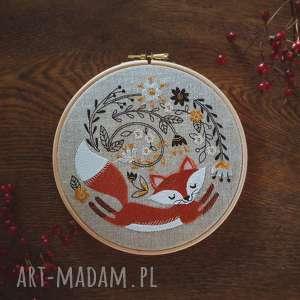 oryginalny prezent, zapetlona nitka obrazek haftowany lisek, lis, las