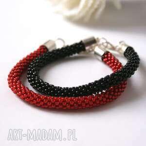 Black&red - zestaw koralikowych bransoletek pracownia lawre