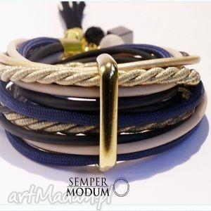landryna ii navy, bransoletka, złocista, sznurki, ptaki, fashion biżuteria