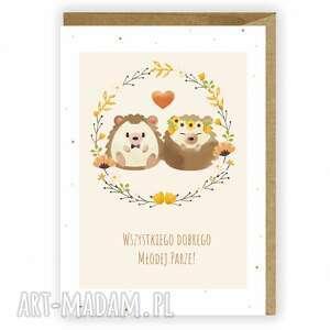 kartka ślubna, okolicznościowa, wszystkiego dobrego młodej parze, jerzyki