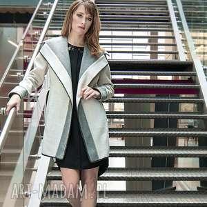 ręcznie zrobione płaszcze wełniany, dwustronny płaszcz szary/krem