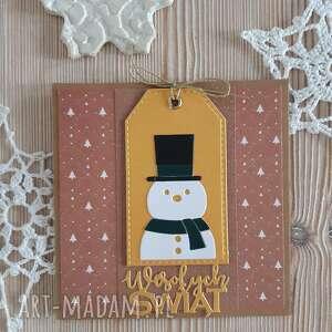 scrapbooking kartki karta z bałwankiem 5, święta, życzenia, bałwan