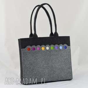 na ramię grafitowa filcowa torba z kolorowymi kółkami, filc