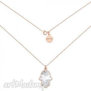 naszyjnik z różowego złota kryształową ręką fatimy swarovski crystal