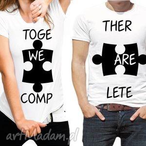 Koszulki dla Par Puzzle TOGETHER WE ARE COMPLETE, walentynki, ślub, zaręczyny