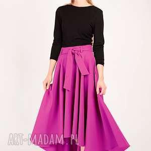 spódnice fioletowa spódnica z koła paskiem, spódnica, koło, rozkloszowana