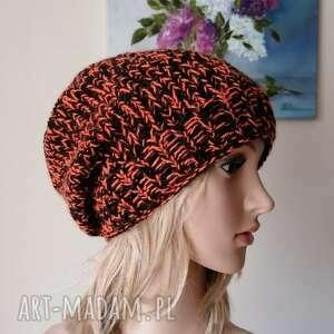 pomarańcz w czerni mięsista czapka, rękodzieło, bezszwowa czapka na druta