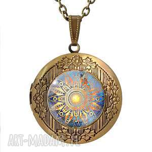 orientalne słońce - sekretnik z łańcuszkiem, naszyjnik