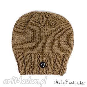 czapka przy głowie - coffe - czapka, dziergana, zima, krótka, unisex