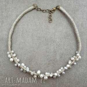 perły i len - len, perły, perełki, elegancki, romantyczny, ślub