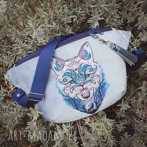 nerka xxl wilk, nerka, niebieska, haftowana, torebka, leśna, świąteczny