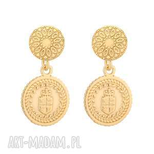 złote kolczyki z medalionami - pozłacane, zdobione, sztyfty