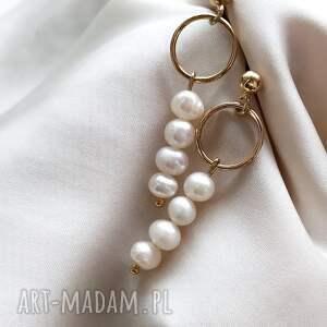in stones kolczyki - koła z perłami, złoto, kolczyki, sztyfty, biżuteria