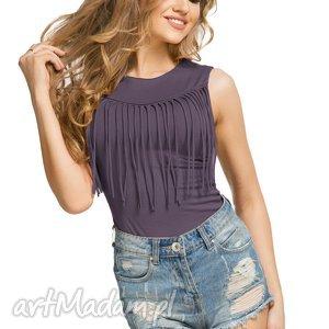 Bawełniana bluzeczka bez rękawów z frędzlami T176, fiolet, bluzka, bawełniana,