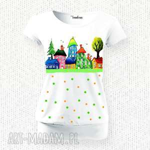 Bluzka ręcznie malowana- domki i kropeczki, bluzka, bawełna, bawełniana, unikat