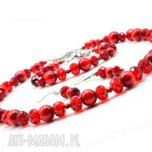 czerwony zestaw biżuterii z koralików drewnianych, komplet
