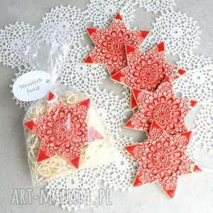 ceramika gwiazdka ceramiczna - ozdoba świąteczna, gwiazdka, ceramika, śnieżynka