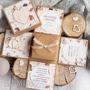 handmade scrapbooking kartki eksplodujące pudełeczko - aniołek stróż w otoczeniu leśnych