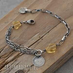 bransoletka z bryłkami cytrynu - 026, cytryn, srebro, surowa biżuteria