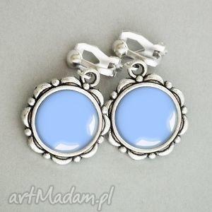 błękit nieba stylowe małe klipsy, niebieski, mały, stylowy, srebrny, srebrne, ładne