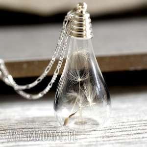925 minimalistyczny srebrny łańcuszek z nasionami dmuchawca - mniszek, natura