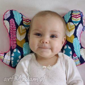 Poduszka motylek, wzór piórka dla dziecka little sophie piórka