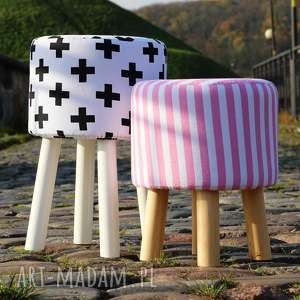 pufa czarne krzyżyki 2 - białe nogi 45 cm, puf, pufa, taboret, stołek