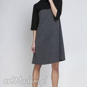 Sukienka, SUK121 grafit, półgolf, kieszenie, casual, kontrafałda, kontrast, midi