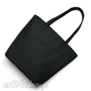 pomysł na prezenty święta Shopper Bag Bucket - zamsz czarny, elegancka, nowoczesna