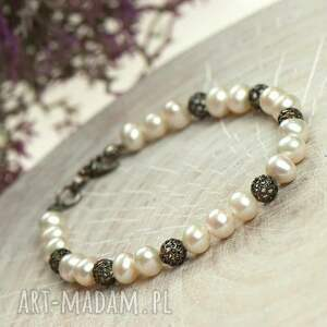 bransoletka z perłami a678, perłami, delikatna