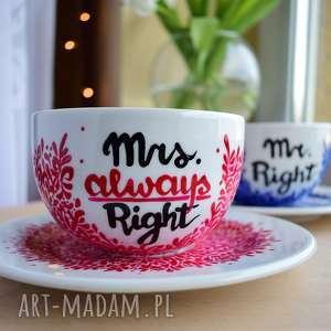 ręcznie malowane filiżanki red blue, ślubny, ślub, prezent para młoda