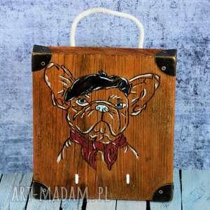 wieszak drewniany - buldog francuski, wieszak, na klucze, kubki, smyczkę