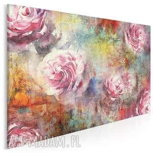obraz na płótnie - róże kolorowy 120x80 cm 65601, róża, kolorowy