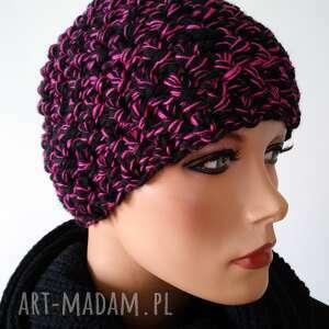 czapki handmade czapka czarno różowa, hand made, zimowa czapka, wełniana