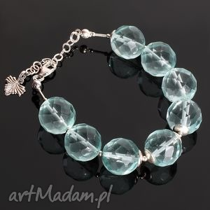 Aqua bransoletka - ,kwarc,srebro,elegancka,listek,bransoletka,