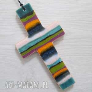 kolorowy krzyżyk ceramiczny, dewocjonalia, krzyż, dla dziecka