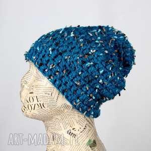 czapka z włóczki niebieska kolorowa beanie wełna, czapka