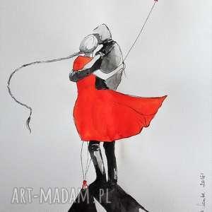 praca akwarelami i piórkiem para z balonem artystki plastyka adriany laube
